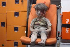Omran Daqneesh and four other children were wounded in an airstrike in Aleppo CREDIT: ALEPPO MEDIA CENTRE
