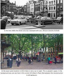 Hollanda'nın kentlerinden Ultrech'ye araç trafiğine kapatılan ve bisiklet kullanımına açılan meydan