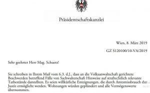 Ludwig Adamovich, Berater des österreichischen Bundespräsidenten, wurde über Verletzungen des Eigentumsrechts informiert: Seine Antwort erfolgte am 8. März 2019