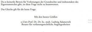 Ludwig Adamovich leugnete die Verletzungen des Eigentumsrechts in Österreich. Er ist Berater des österreichischen Bundespräsidenten Alexander van der Bellen.